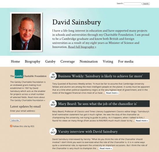 David Sainsbury - Lord Sainsbury of Turville, Candidate for Chancellor of Cambridge University